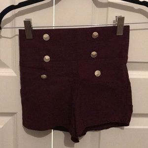 S Burgundy high waisted shorts Charlotte Russe